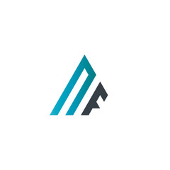 Initial Letter NF Linked Triangle Design Logo