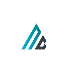 Initial Letter NG Linked Triangle Design Logo