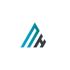Initial Letter NH Linked Triangle Design Logo