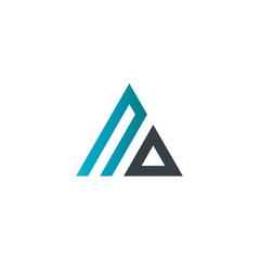 Initial Letter NO Linked Triangle Design Logo