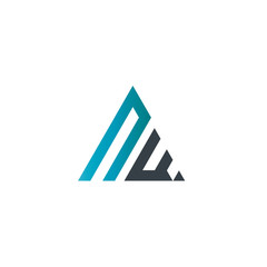 Initial Letter NW Linked Triangle Design Logo