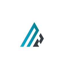 Initial Letter NZ Linked Triangle Design Logo