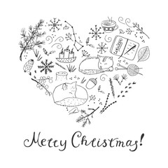 Merry Christmas hand lettering. Vector calligraphy.