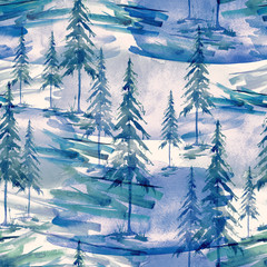 Seamless watercolor pattern, background. Blue spruce, pine, cedar, larch, purple, lilac abstract forest, silhouette of trees. Art illustration for your design
