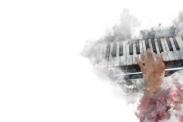 Abstract beautiful a women playing keyboard of the piano foreground Watercolor painting background and Digital illustration brush to art.