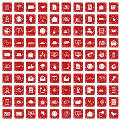 100 mail icons set grunge red