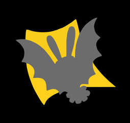 Bat against the background of a yellow square