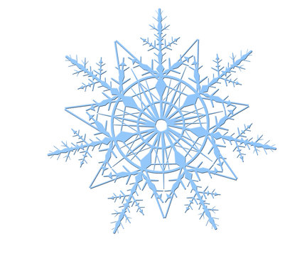 Blue snowflake isolated on a white background. Illustration of one snowflake