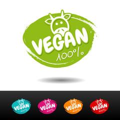 Wall Mural - Set of 100% vegan badges. Vector hand drawn labels.