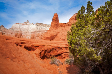 The color and unique desert beauty of massive rock formations of red and white sandstone at Kodachrome Basin State Park, Utah, USA.