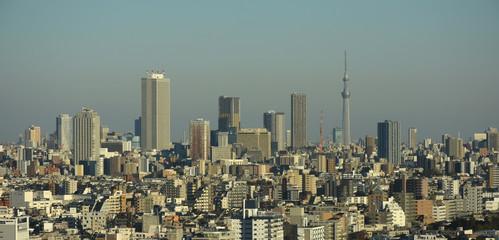 東京都内の都市景観を望む(サンシャイン60や東京スカイツリーなどが見える)