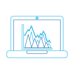 graph chart on laptop screen icon image vector illustration design  blue line
