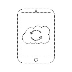 cloud storage with cellphone icon image vector illustration design  black dotted line