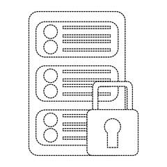 server security safety lock web hosting icon image vector illustration design  black dotted line