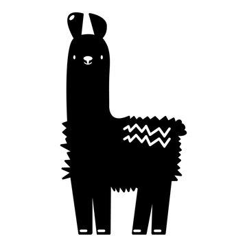 Llama icon, simple black style