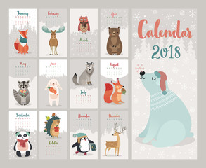 Wall Mural - Calendar 2018. Cute monthly calendar with forest animals.