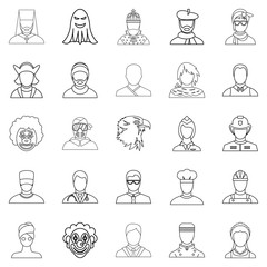 Personification icons set, outline style