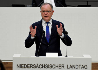 The reelected Lower Saxony Prime Minister Stephan Weil (SPD) delivers a speech at the state parliament in Hanover