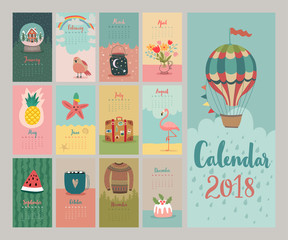 Wall Mural - Calendar 2018. Cute monthly calendar.
