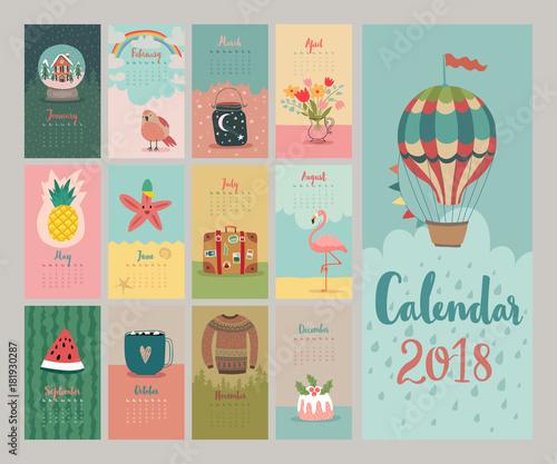 Wall mural Calendar 2018. Cute monthly calendar.
