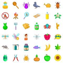 Etching icons set, cartoon style