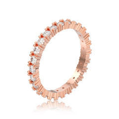 3D illustration isolated rose gold eternity band diamond ring with reflection