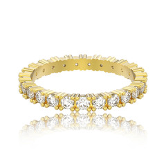 3D illustration isolated yellow gold eternity band diamond ring with reflection