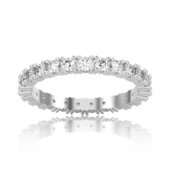 3D illustration isolated white gold or silver eternity band diamond ring with reflection on a white background
