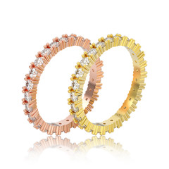 3D illustration isolated two yellow and rose gold eternity band diamond rings with reflection