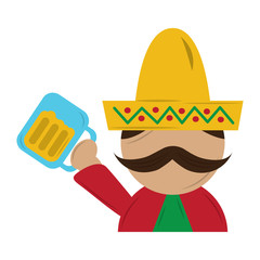 funny mexican man with hat and mustache with beer glass vector illustration