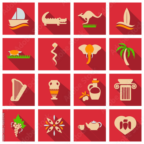 Set of vector images on the theme of ancient Greece  They