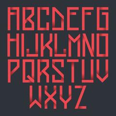 Futuristic red cosmic hipster font. Vector alphabet set. Latin alphabet letters.