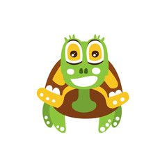Happy green turtle with big shiny eyes, front view