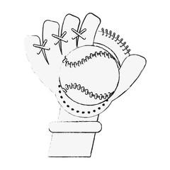 Baseball leather glove and ball
