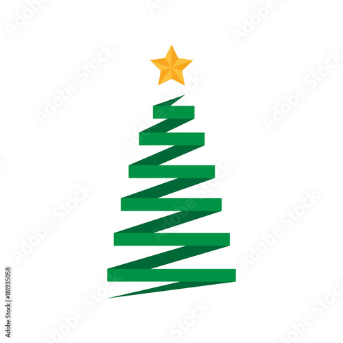 Origami Folded Paper Christmas Tree With Golden Star Xmas Tree