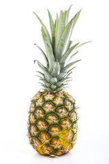 Whole pineapple on isolated white studio background. Fresh whole pineapple fruit clipping path.