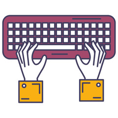 hands user with keyboard vector illustration design
