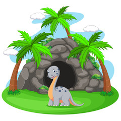 Dinosaur in front of the cave