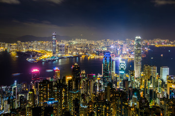 Hong Kong at night viewed from Victoria Peak .  Can see the major business buildings such as Two IFC, Bank of China, Far East Finace Centre, Cheung Kong, Jardine House, The centre,