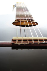 Guitar artsy POV background. Music illustration. Classic guitar