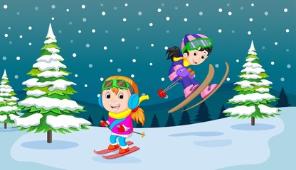 In the winter, kids play in the snow very joyfully