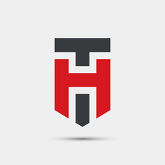 Abstract letter T and H logotype. Modern geometric logo idea sign. Universal emblem vector icon.