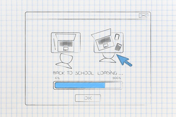 modern school loading pop-up message with desks with laptops