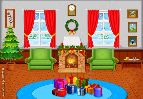 Christmas Living Room With A Tree And Fireplace Stock Image And