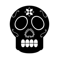 skull the day of the death mexican traditional culture vector illustration