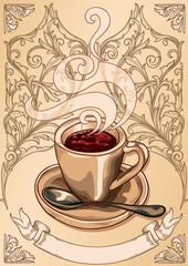 Cup of coffee decorative design