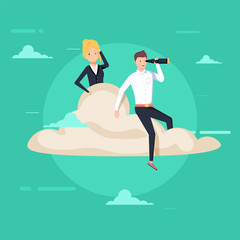 Businessman and woman sitting on a cloud. Businessman using telescope looking for success