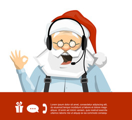 Santa Claus With Headset Vector Character