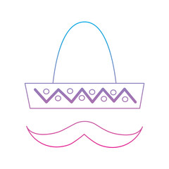 sombrero hat with mustache mexico culture icon image vector illustration design  blue purple ombre line