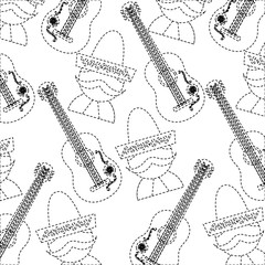 man with sombrero and guitar mexico culture pattern image vector illustration design  black dotted line